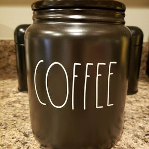 Rae Dunn Black large COFFEE Canister